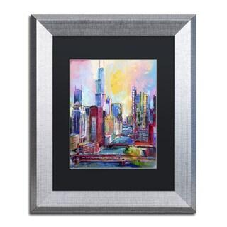 Richard Wallich 'Chicago 3' Black Matte, Silver Framed Wall Art