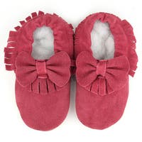 Augusta Baby Soft Sole Burgundy Leather Fringe with Bow Baby Shoes