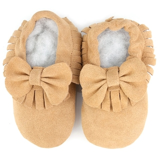 Augusta Baby Soft Sole Chestnut Leather Fringe with Bow Baby Shoes