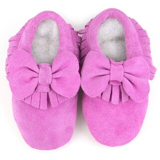 Augusta Baby Soft Sole Light Pink Leather Fringe with Bow Baby Shoes (4 options available)