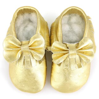 Augusta Baby Soft Sole Gold Leather Fringe with Bow Baby Shoes