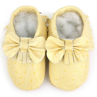 Augusta Baby Soft Sole Beige Leather Fringe with Bow Baby Shoes