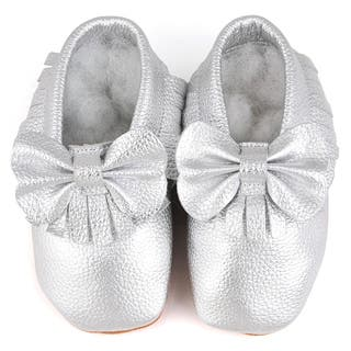Augusta Baby Soft Sole Silver Leather Fringe with Bow Baby Shoes|https://ak1.ostkcdn.com/images/products/10677470/P17741295.jpg?impolicy=medium