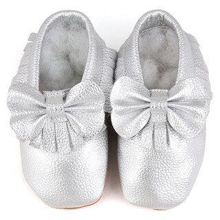 Augusta Baby Soft Sole Silver Leather Fringe with Bow Baby Shoes