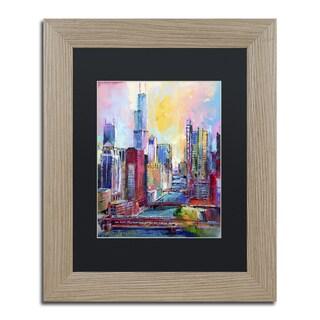 Richard Wallich 'Chicago 3' Black Matte, Birch Framed Wall Art