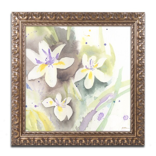 Shop Sheila Golden \'White Iris\' Gold Ornate Framed Wall Art - Free ...