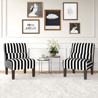 Skyline Furniture Canopy Stripe Black/White Armless Chair