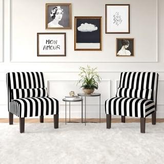 Skyline Furniture Canopy Stripe Black/White Armless Chair