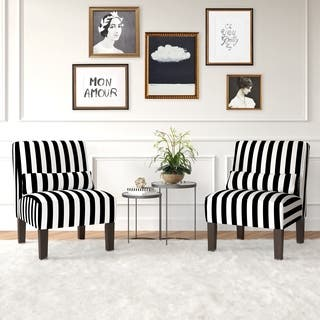 striped living room chairs. Skyline Furniture Canopy Stripe Black White Armless Chair Accent Chairs  Striped Living Room For Less Overstock com