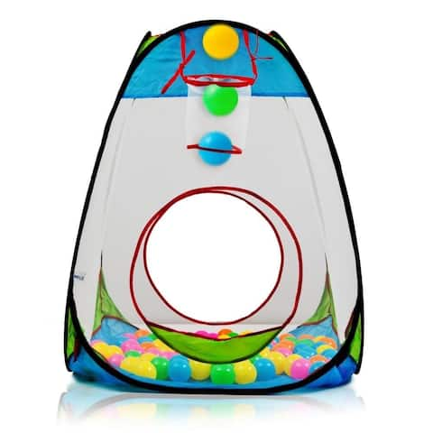 Dimple DC11610 Childrens Pop Up Playhouse Tent with Set of 100 Colorful Balls with Basketball Hoop for Indoor and Outdoor use