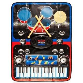 2-in-1 Functional Drum Piano Foldable Music Mat with 5 Piece Drum, 2 Drum Sticks, 14 Demos, 24 Key Piano Keyboard Speakers