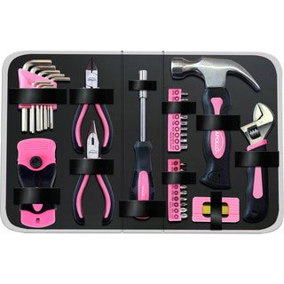 38-piece Household Tool Kit in Zippered Case Pink