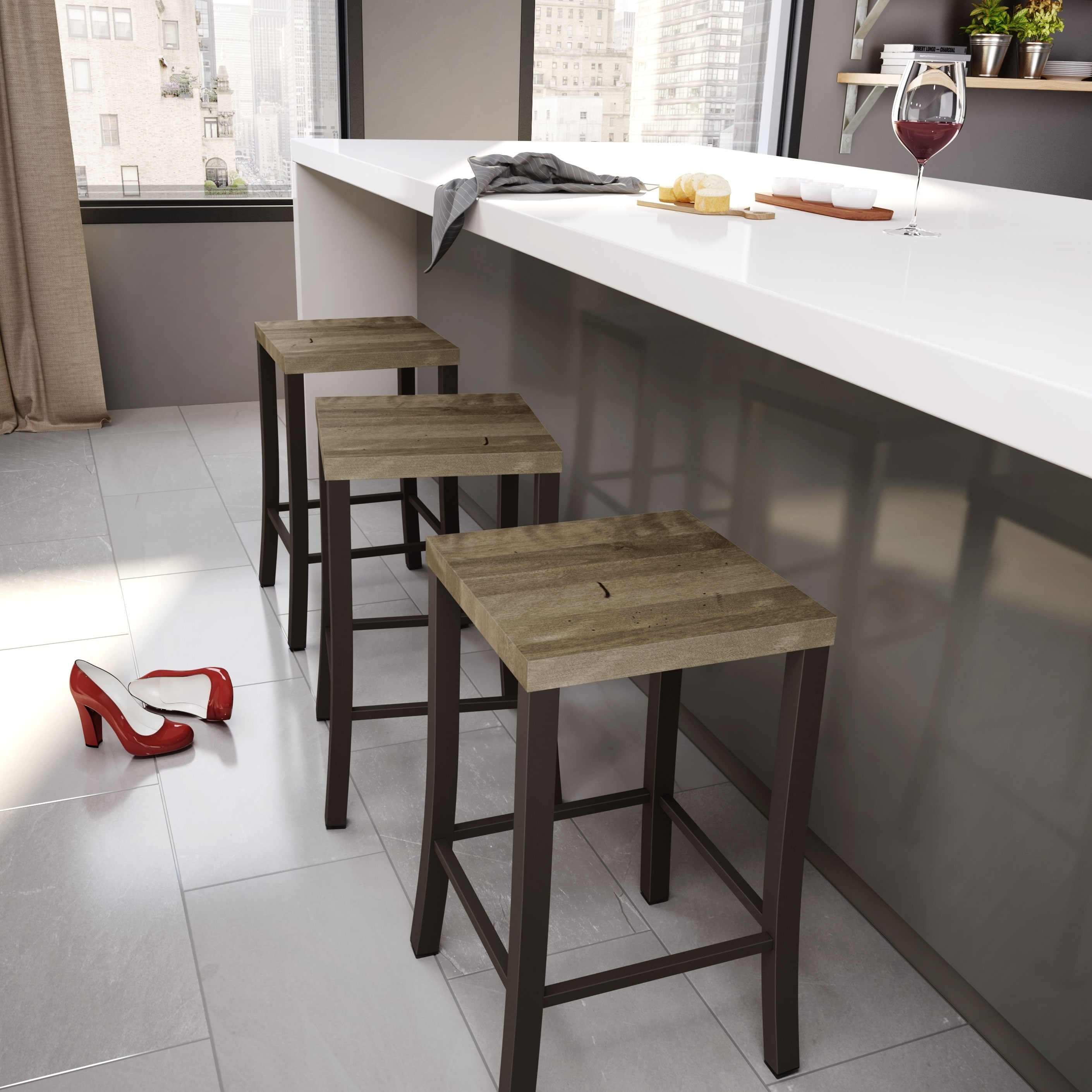 Shop Clay Alder Home Taft Metal and Wood Counter Stool - Free ...