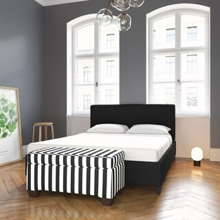 Skyline Furniture Canopy Stripe Black/White Storage Bench
