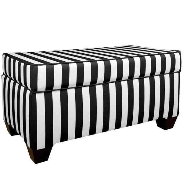Skyline Furniture Canopy Stripe Black/White Storage Bench  sc 1 st  Overstock & Skyline Furniture Canopy Stripe Black/White Storage Bench - Free ...