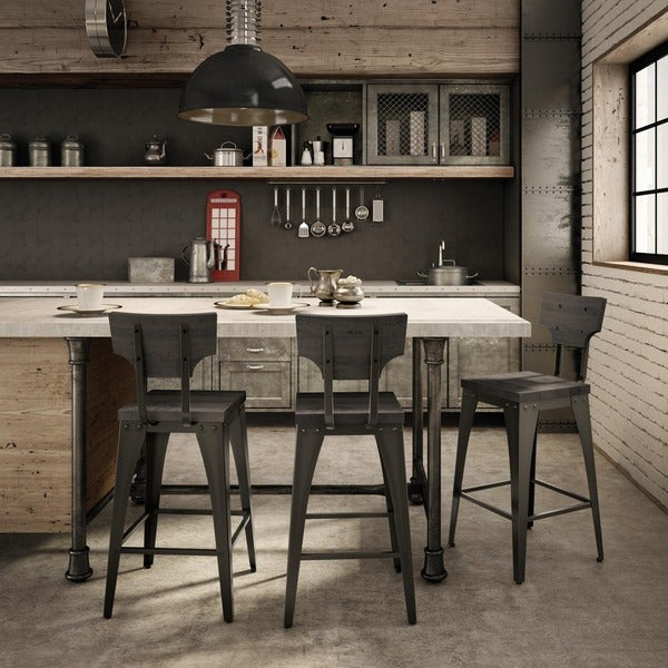 Amisco Station Metal And Wood Barstool Free Shipping