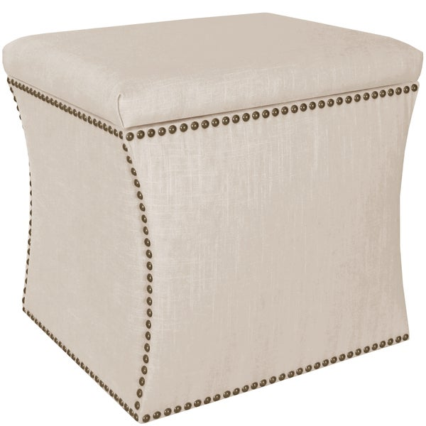 Skyline Furniture Linen Talc Nail Button Storage Ottoman