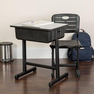 Lancaster Home Black/Grey Metal/Laminate Adjustable-height Student Desk & Chair