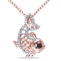 Miadora Sterling Silver Diamond Accent Fish Necklace