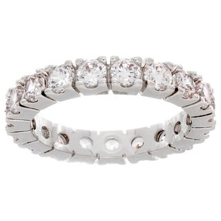 NEXTE Jewelry Round Stone Serrated Eternity Band - Silver