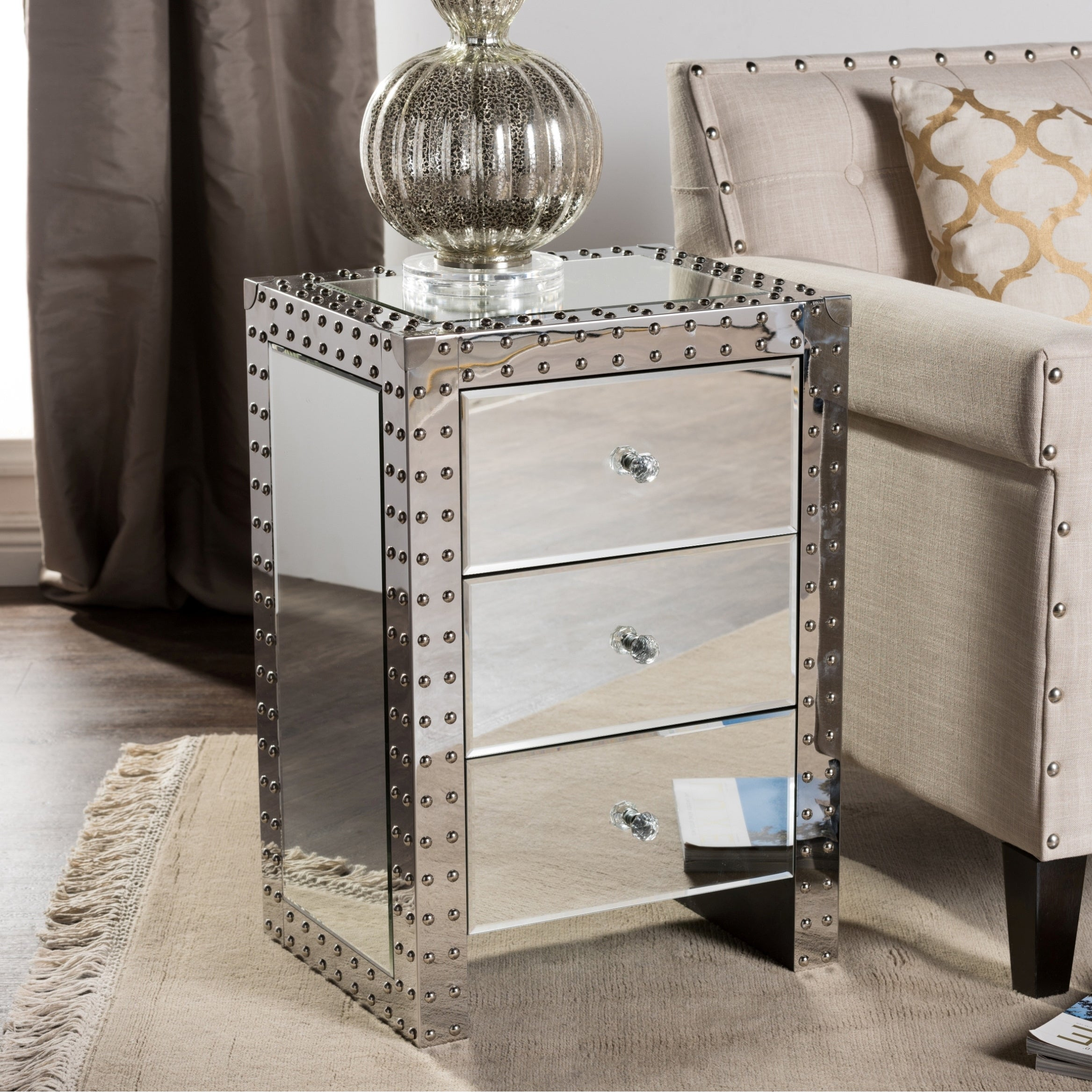 Picture of: Baxton Studio Azura Modern Hollywood Regency Glamour Style Nightstand Bedside Table Overstock 10678803
