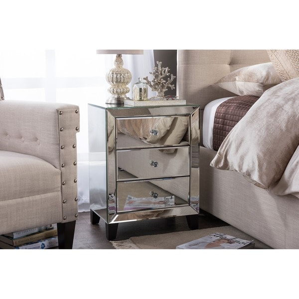 Baxton Studio Chevron Contemporary Hollywood Regency Glamour Style Mirrored  3 Drawers Bedside Nightstand Table