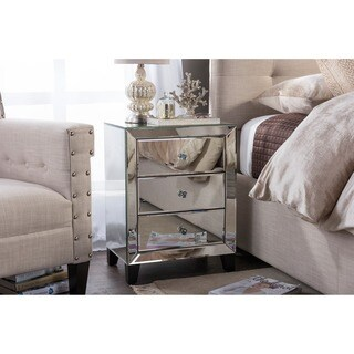 Chevron Modern And Contemporary Hollywood Regency Glamour Style Mirrored  3 Drawers Nightstand Bedside Table