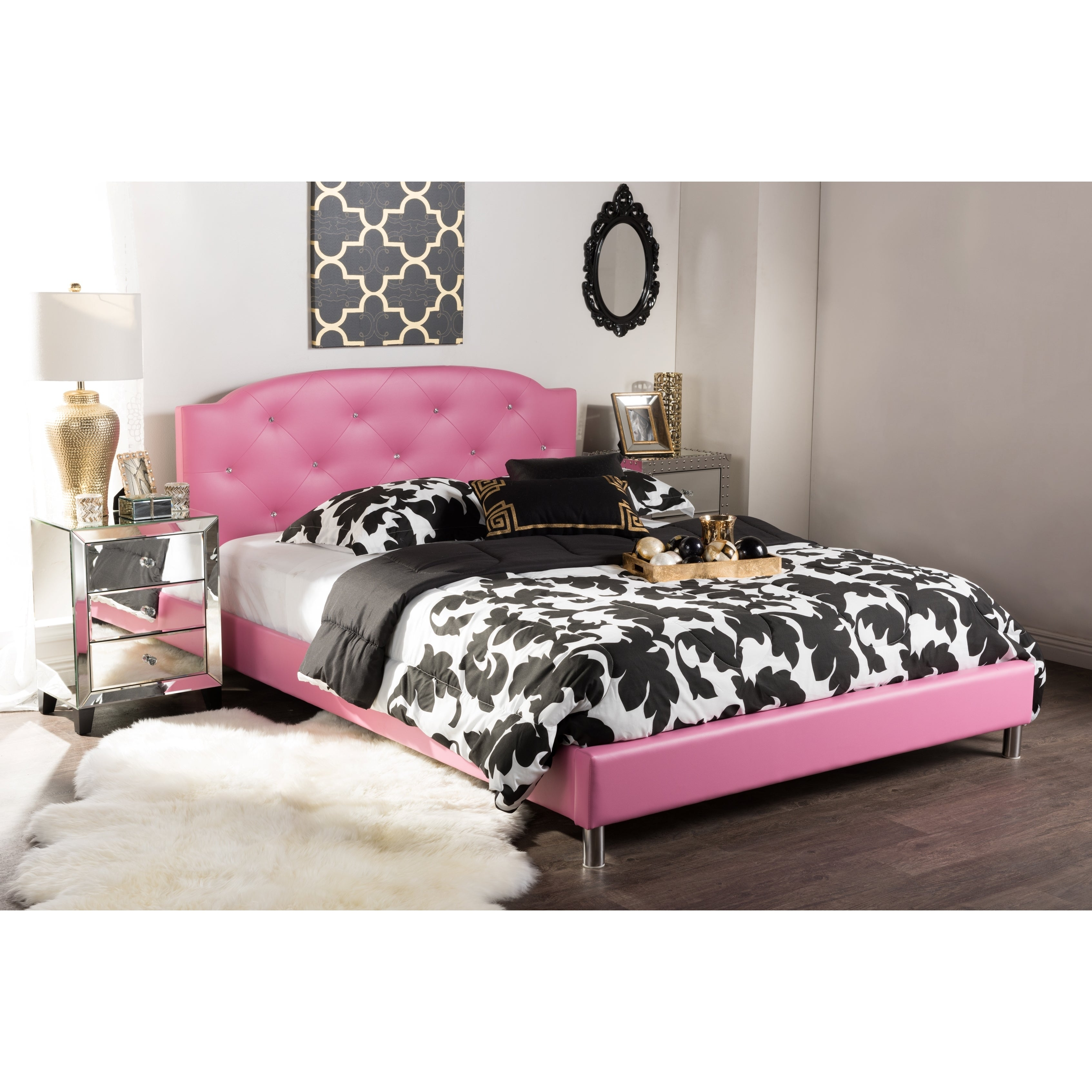 Baxton Studio Canterbury Contemporary Hot Pink Faux Leath...