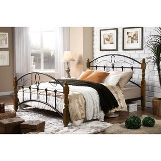 Baxton Studio Nova Classic Vintage Style Bronze Metal Queen-size Platform Bed with Sturdy Dark Walnut Finish Wood Posts