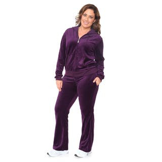 White Mark Women's Plus Size Velour Suit (Option: Red)|https://ak1.ostkcdn.com/images/products/10678814/P17742496.jpg?impolicy=medium