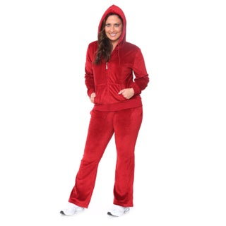 White Mark Women's Plus Size Velour Suit (More options available)