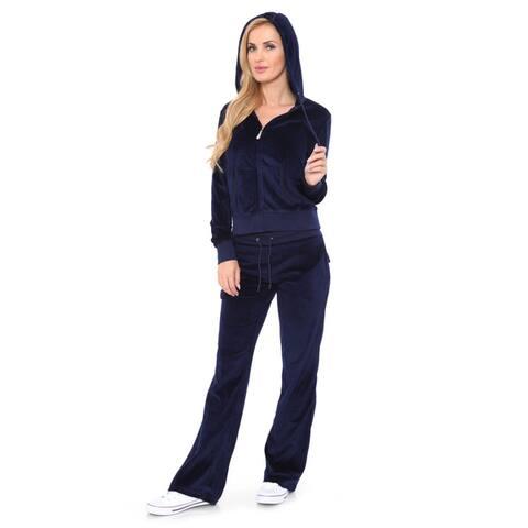 White Mark Women's Velour Lounge Suit