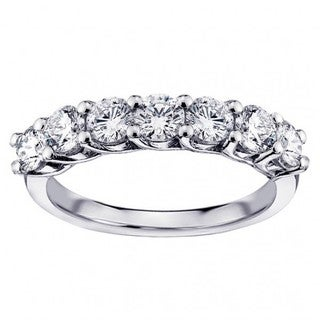 14k/ 18k White Gold 1 1/3ct TDW Round Prong-set Diamond Wedding Band