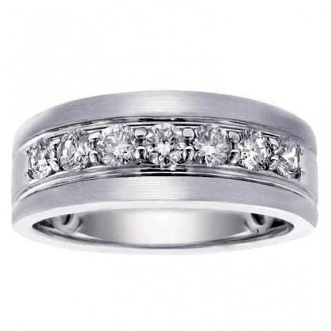 White Gold Men's 1ct Brilliant-cut Satin Finish Diamond Ring