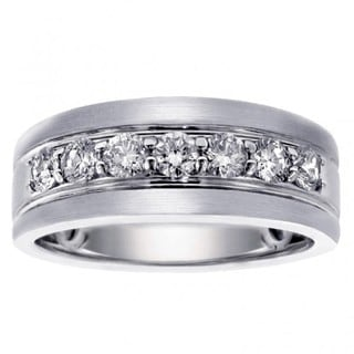 14k/ 18k White Gold Men's 1ct Brilliant-cut Satin Finish Diamond Ring (G-H, SI1-SI2)