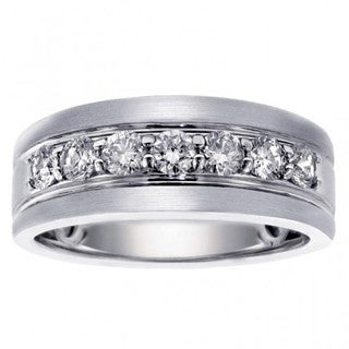 White Gold Men's 1ct Brilliant-cut Satin Finish Diamond Ring