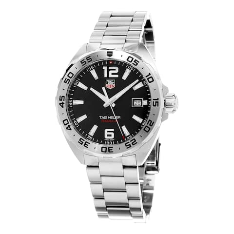 Tag Heuer Men's WAZ1112.BA0875 'Formula 1' Black Dial Stainless Steel Swiss Quartz Watch - silver