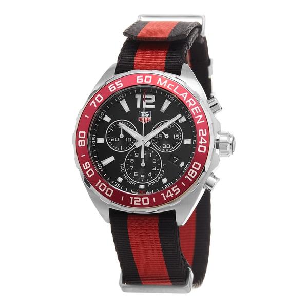 Tag Heuer Men's CAZ1112.FC8188 'Formula 1' Black Dial Black/Red Fabric Strap Swiss Quartz Watch. Opens flyout.