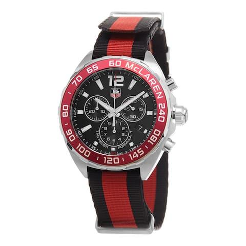 Tag Heuer Men's CAZ1112.FC8188 'Formula 1' Black Dial Black/Red Fabric Strap Swiss Quartz Watch