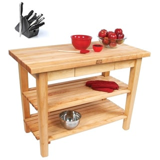 John Boos C03-2D Country Maple 60x24x35 Work Table With 2 Drawers / 2 Shelves & Henckels 13 Piece Knife Block Set