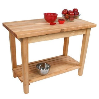 John Boos C03-S-TLR 60x24 Country Maple Tabel with Shelf & Towel Rack with Henckels 13 Piece Knife Block Set