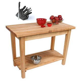 John Boos 60 x 24-inch Country Maple Work Table with Shelf C03-S & J. A. Henckels 13-piece Knife Block Set