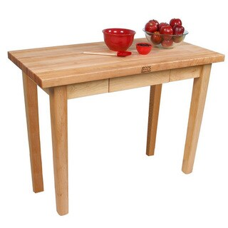 John Boos C03-D Country Maple 60x24x35 Work Table With Drawer & Henckels 13 Piece Knife Block Set