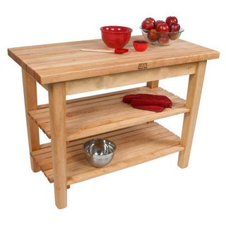 John Boos C02C-2S 48x24 Country Maple Tabel with Casters/2 Shelves & Henckels 13 Piece Knife Block Set