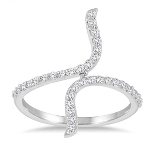 Marquee Jewels 3/8 Carat TW Diamond Long Bypass Ring in 14K White Gold