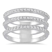 Marquee Jewels 3/5 Carat TW Triple Row Diamond Ring in 14K White Gold