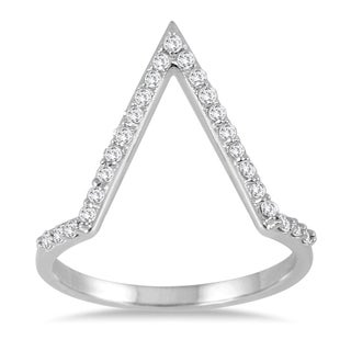 Marquee Jewels 1/4 Carat TW Open Diamond V Ring in 14K White