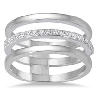 Marquee Jewels 1/5 Carat TW Diamond Triple Row Band in 14K White Gold