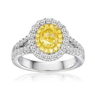 18K Gold Halo 1 1/2ct TDW White and Yellow Diamond Ring (F-G, SI1-SI2)