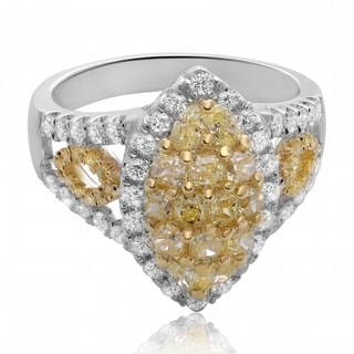 18k Gold 2 TDW Yellow and White Diamond Ring (F-G, SI1-SI2)